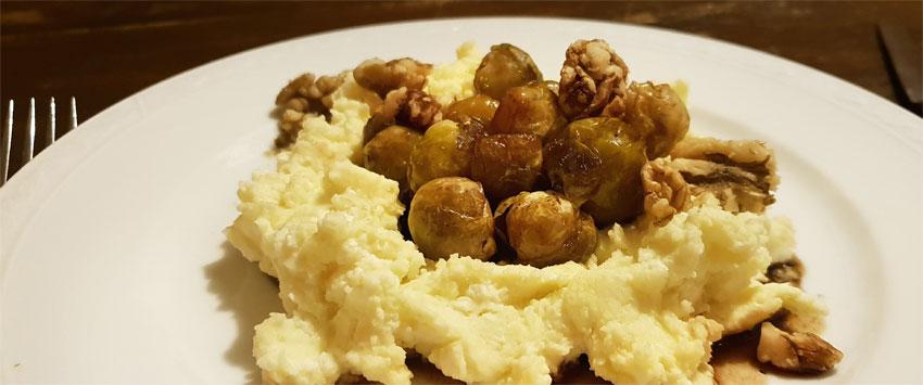 Gemarineerde spruitjes recept hoofdgerecht walnoten vegetarisch weekmenu