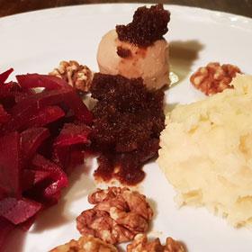 Rode bieten pruimenpuree recept vegan kerst kerstdiner Vegetarisch Weekmenu