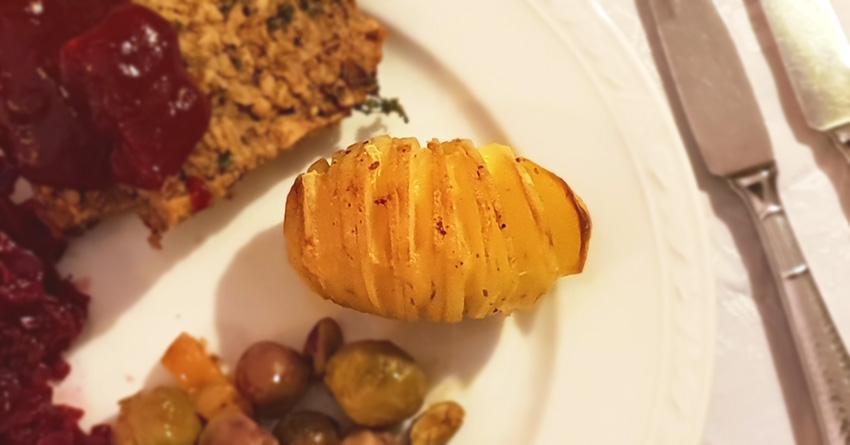 Hasselback aardappelen Kerst kerstmenu vegan vegetarisch