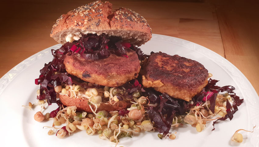 Zaterdaghap burgers maken vegan sprouty kiemgroente vegetarisch