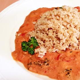 Bulgur met rijke tomatensaus recept veganist vegetarisch