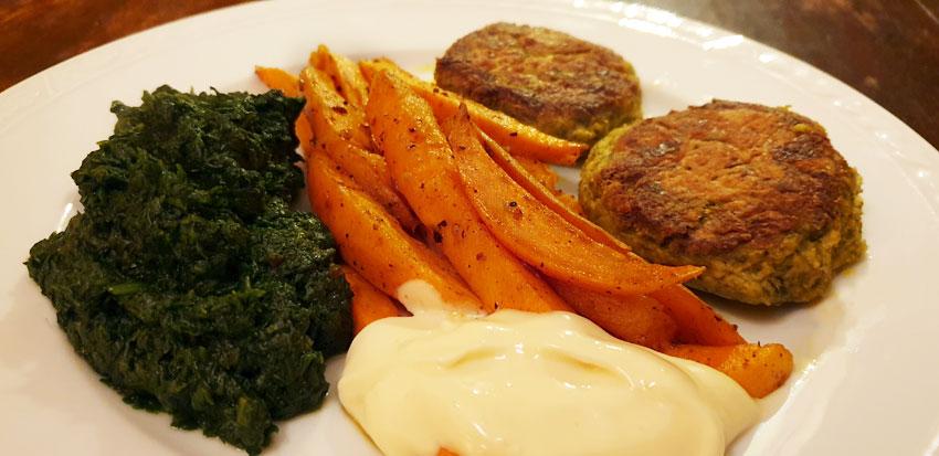 Boerenkoolburgers spinazie zoete aardappel oven vegan vegetarisch