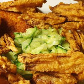 Koolrabi in beslag komkommersalade recept vegetarisch weekmenu