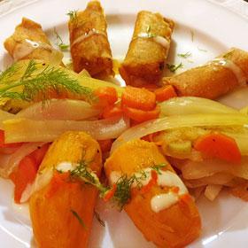 Venkel wortel stoofpot mini-loempia's vegetarisch weekmenu