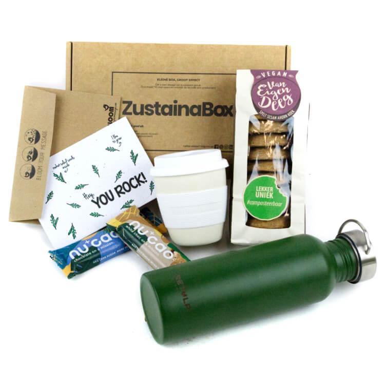 ZustainaBox koffiepauze pakket plasticvrij vegan waterfles Retap