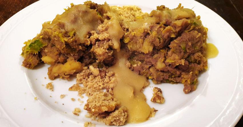 Tamme kastanje spruitjesstamppot recept zoetzure saus vegetarisch