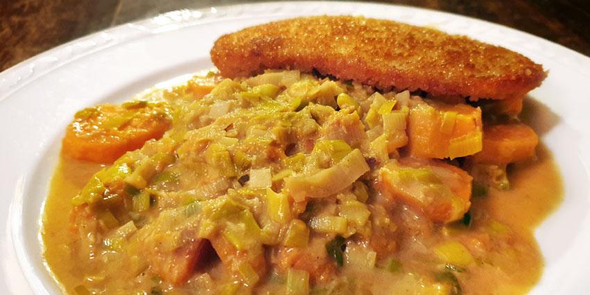 Zoete aardappel prei stoofpot recept vegetarisch vleesvervanger