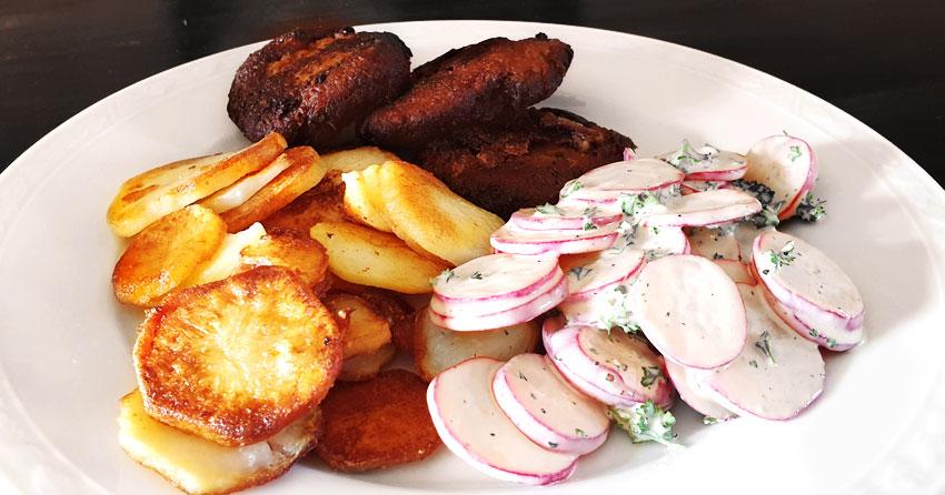 Radijssalade recept gebakken aardappelen Vegetarisch recept