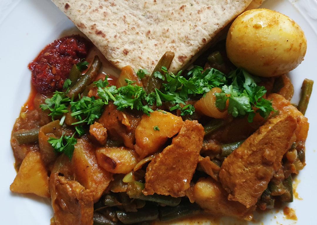 Roti massala Surinaams hoofdgerecht vegetarisch weekmenu