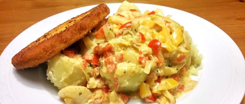 aardappel in paprika-roomsaus en Valess schnitzel recept Vegetarisch Weekmenu
