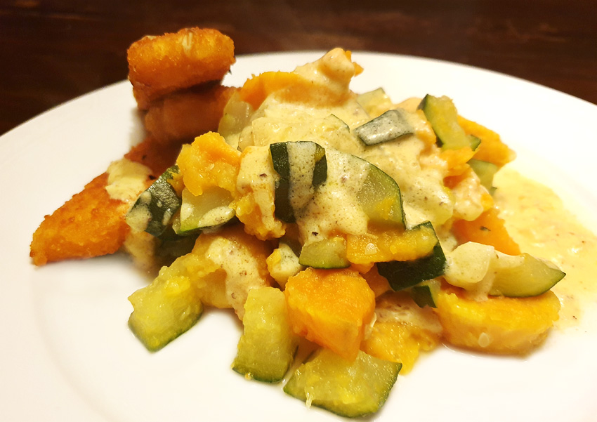 Courgette recept met zoete aardappel in cheddar-mosterd-saus