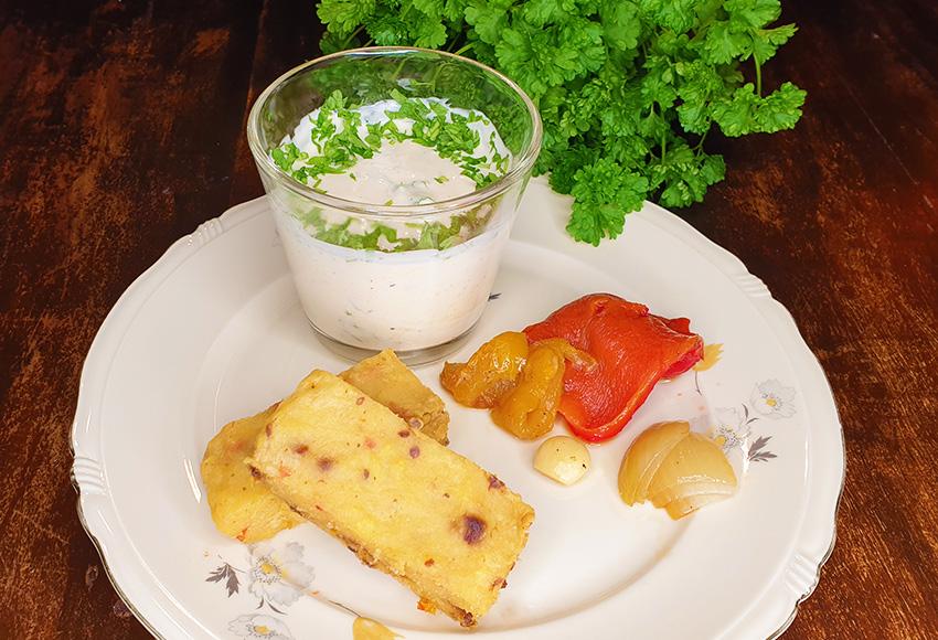 Gebakken polenta recept gegrilde paprika vegetarisch weekmenu